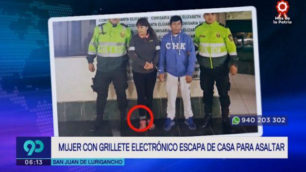 SJL: mujer con grillete electrónico fue arrestada tras escapar de casa para robar un celular