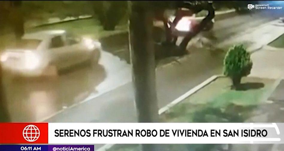 Serenos frustran robo a vivienda tras ser atacados a balazos por delincuentes en San Isidro