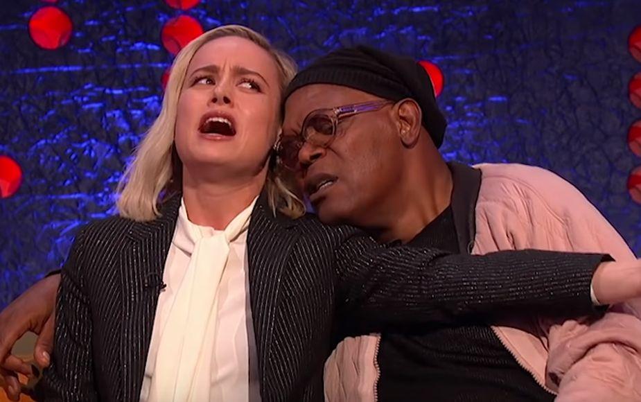 Brie Larson y Samuel L. Jackson cantan 'Shallow' al estilo de Lady Gaga y Bradley Cooper | VIDEO Y FOTOS